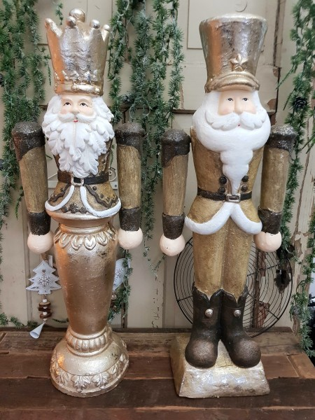 2er Set Nussknacker Weihnachtsmann XXl Champanger Vintage Landhaus Deko