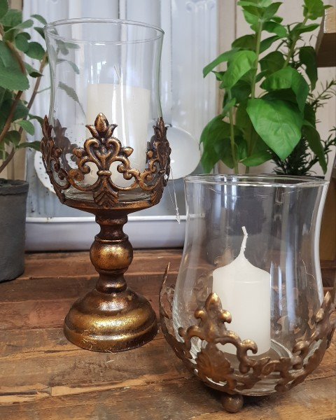 2er Set Windlichter/ Laternen Glas Antikgold Lilie Vintage Nostalgie Shabby