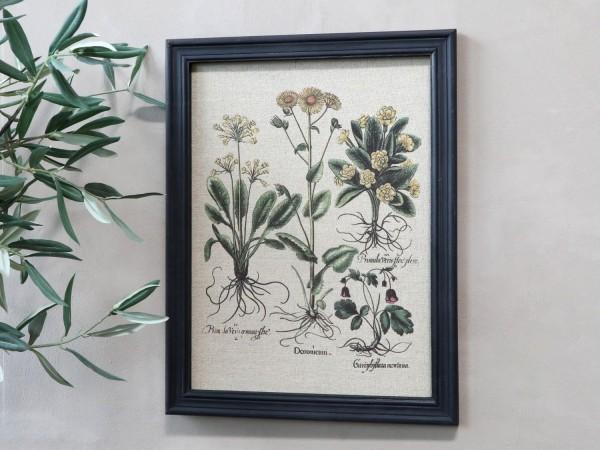 Bild Wildblumen Rahmen Antik Kohle Shabby Vintage Landhaus Wandbild Deko