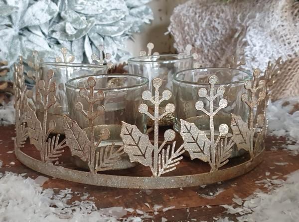 Adventskranz Windlicht Metall Windlicht Gold Vintage Kerzenleuchter Weihnachten