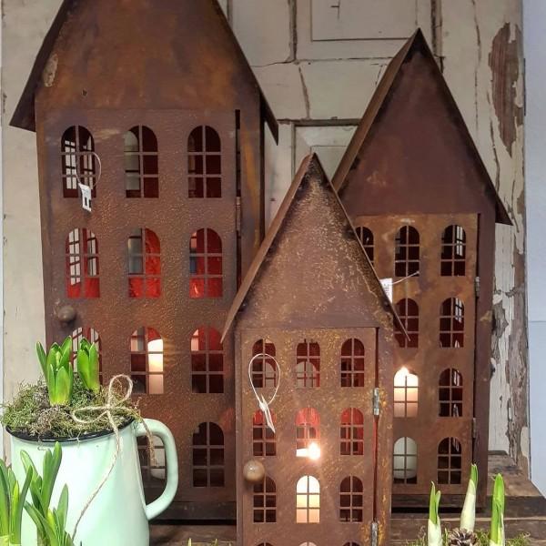 Lichthaus/ Laterne Metall Rostpatina Garten Landhaus Vintage 3 Gr.
