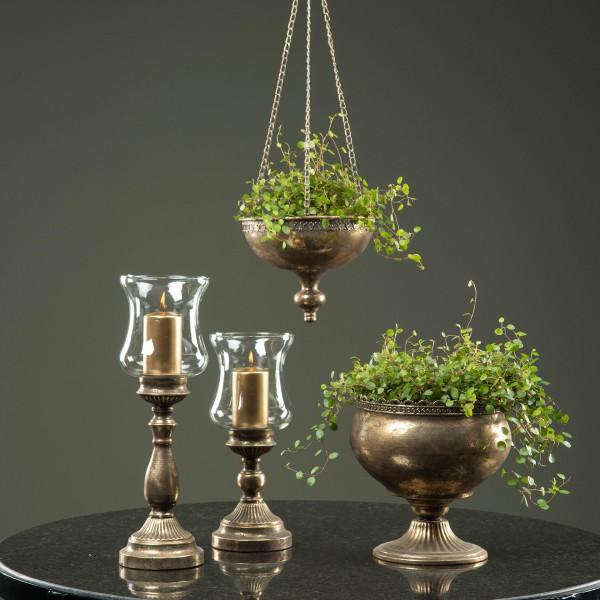 Pokal Amphore Pflanzschale Antik Champanger Metall Sabby Vintage Landhaus