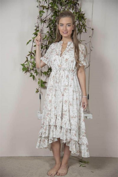 Jeanne d arc´living Mode Kleid Jane JDL Vintage Landhaus Blumen Weiß Sommer