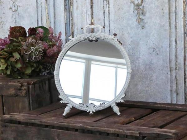 Chic Antique Spiegel Metall Antikweiß Shabby Vintage Nostalgie Tischspiegel Deko Rund