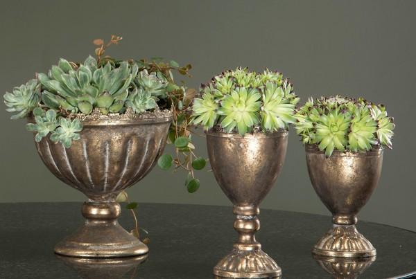 2er Set Pokal Krone Antikgold Shabby Vintage Landhaus Pflanzschale Deko Klein-Copy