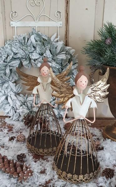 Engel Kerzenleuchter Metall Gold Weihnachten Shabby Vintage Landhaus Deko