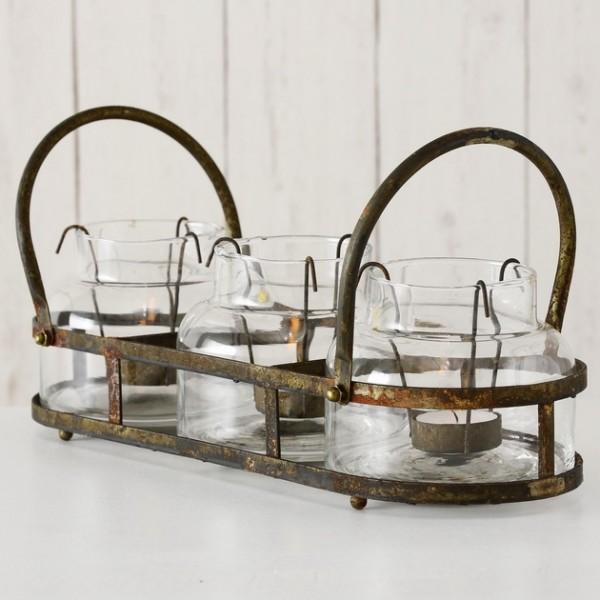 Tablett Windlicht Metall Antikfinish Shabby Vintage Landhaus Deko Garten
