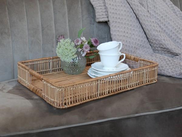 Chic Antique Tablett/ Korb Bambus Boho Vintage Landhaus Garten