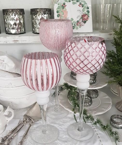 3er Set Windlichter Glas Rosa Weihnachten Vintage Nostalgie Shabby Weihnachtsdeko