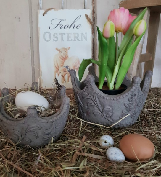 Pflanztopf Krone Beige Ostern Frühling Garten Shabby Vintage Landhaus Klein