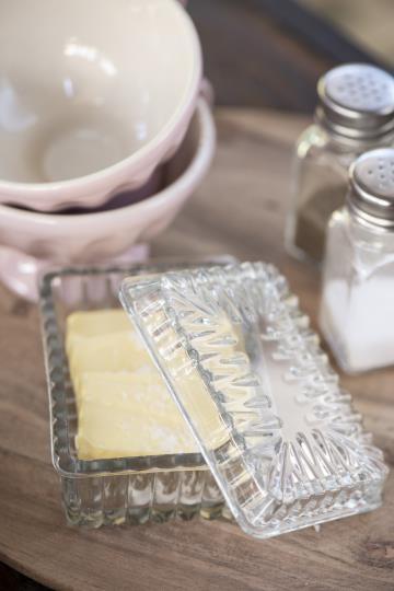 Ib laursen Butterdose Glas Küche Vintage Landhaus Deko Klein