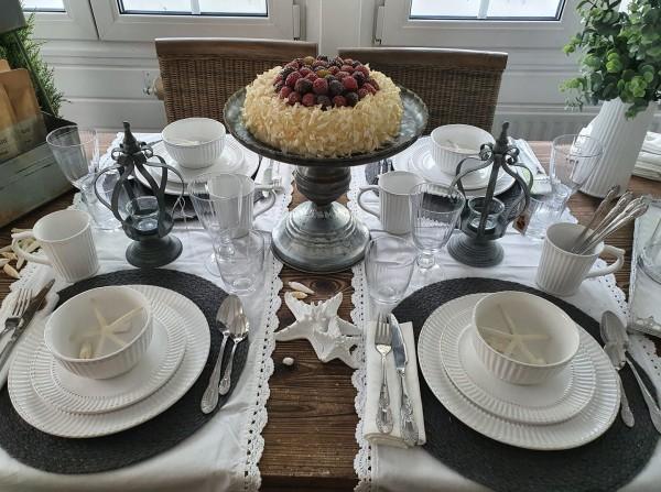 Clayre&Eef Geschirrserie Weiß Dessertteller Shabby Vintage Landhaus Deko