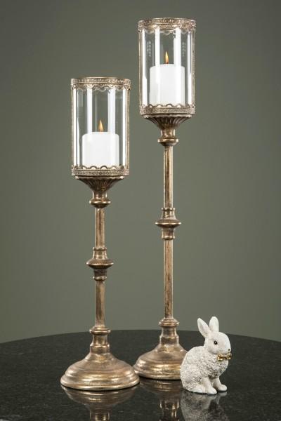 Kerzenleuchter Windlicht Antik Gold Weihnachten Vintage Landhaus Deko 2 Größen