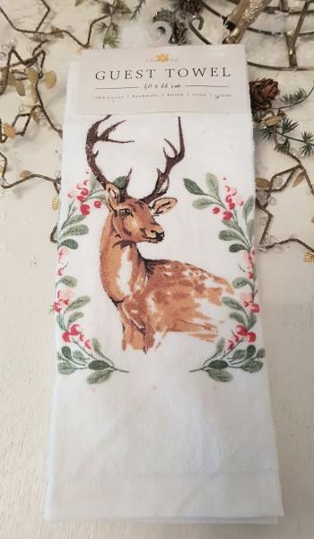 Gästehandtuch Handtuch Hirsch 40 x 60 Clayre & Eef Weihnachten B