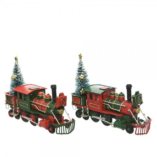 Metalllok Weihnachtszug Rot-Grün-Gold Vintage Weihnachten Deko