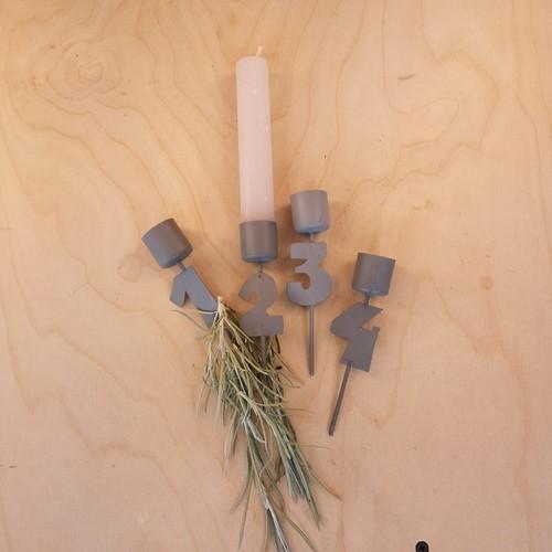 Adventszahlen Metall 1-4 Weihnachten Shabby Vintage Landhaus Nostalgie Grau