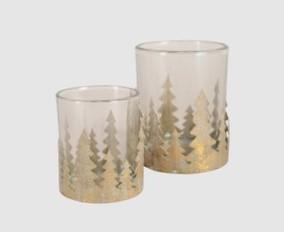 2er Set Windlichter Metall- Glas Gold Weihnachten Vintage Landhaus Deko