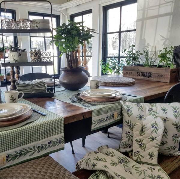 Clayre&Eef Tischläufer Olive Baumwolle Shabby Vintage Landhaus