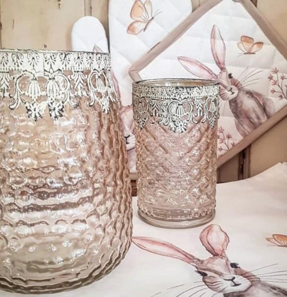 Windlicht Teelichtglas Rosa Shabby Vintage Landhaus Nostalgie Groß