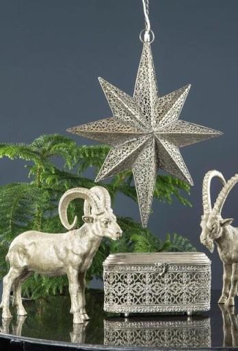 Lampe Stern Metall Antik Silber Weihnachten Shabby Vintage Landhaus Deko