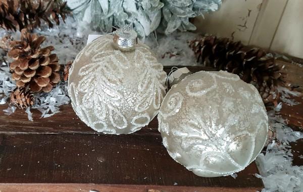2er Set Christbaumkugeln Weiß Weihnachten Shabby Vintage Nostalgie Weihnachten Nr.404