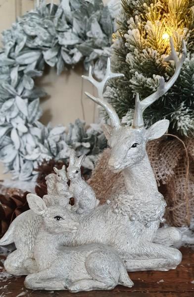 Hirschfamilie Weiß Silber Weihnachten Shabby Vntage Landhaus Deko