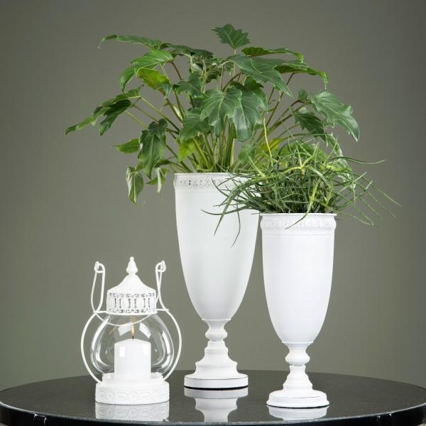 Pokal Pflanzschale Vase Metall Weiß Shabby Vintage Nostalgie Landhaus Deko Klein