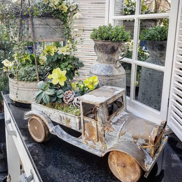 Truck Lastwagen Zink Garten Deko Pflanzschale Shabby Vintage Landhaus Deko
