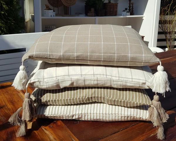 Kissenbezug Boho Tasseln Streifen Beige Shabby Vintage Landhaus Deko-Copy