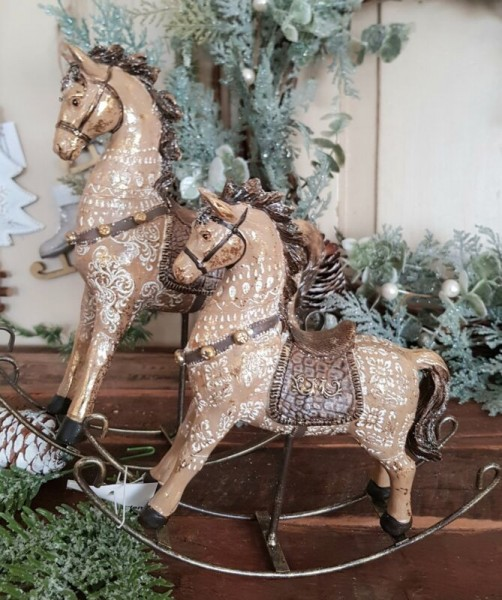 2er Set Schaukelpferd Weihnachten Gold Vintage Nostalgie Landhaus Deko