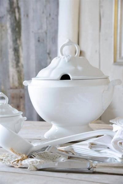 Jeanne d´arc living Suppenterinne Groß Weiß Porzellan Shabby Vintage Küche JDL