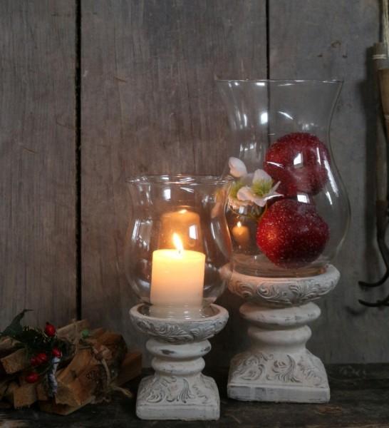 Laterne Windlicht Kerzenständer Betonguss Glas Shabby Vintage Landhaus Groß
