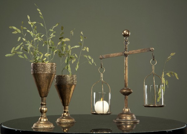 Windlicht Laterne Kerzenständer Metall Antikgold Shabby Vintage Landhaus Waage