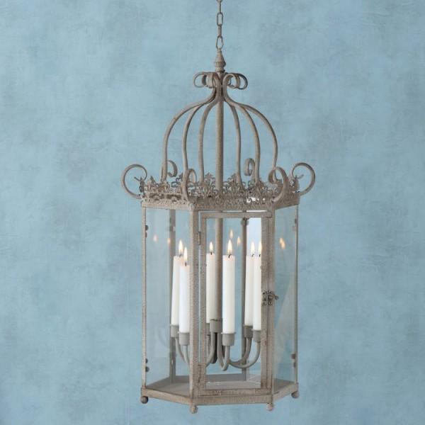 Hänge-Laterne Kerzenleuchter Antik Grau Metall Shabby Vintage Landhaus