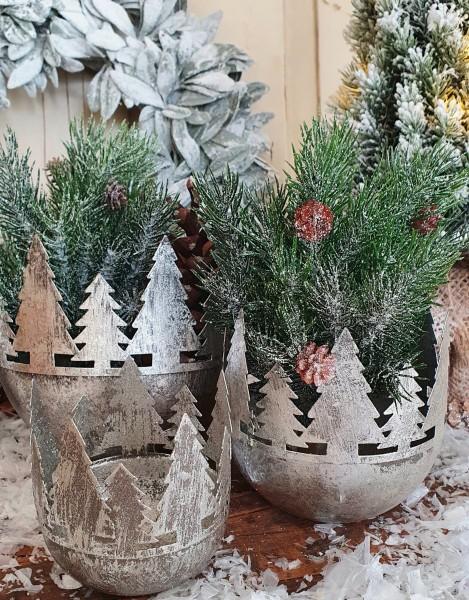 3er Set Pflanztöpfe/ Windlichter Metall Silber Weihnachten Shabby Vintage Deko