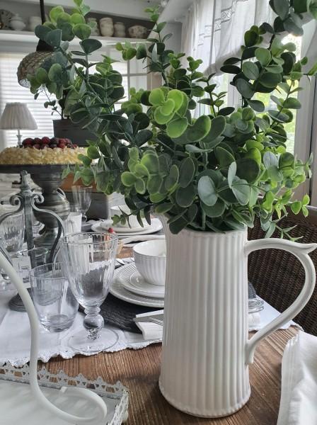 Clayre&Eef Geschirrserie Weiß Krug / Vase Shabby Vintage Landhaus Deko