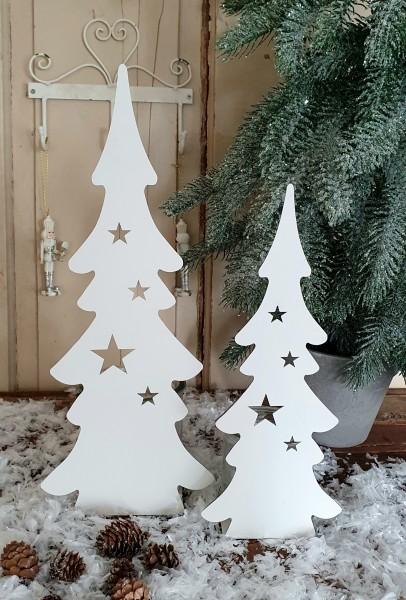 2 er Set Kerzenleuchter Windlicht Weihnachtsbaum Metall Weiß Weihnachten Shabby Deko