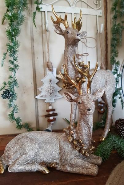 2er Set Hirsche/ Rentiere Champanger Gold Weihnachten Landhaus Vintage Deko