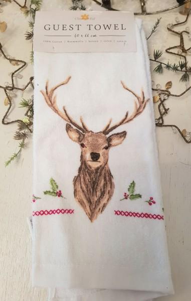 Gästehandtuch Handtuch Hirsch 40 x 60 Clayre & Eef Weihnachten C