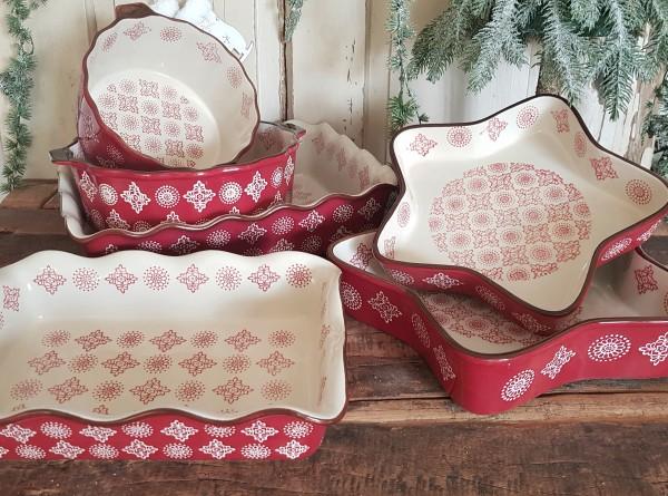 Auflaufform Ofenfest Rot Keramik Weihnachten Landhaus Vintage Küche 6 Modelle