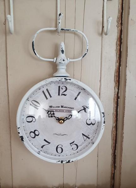 Uhr Wanduhr Metall Antiweiß Shabby Vintage Nostalgie Factory Deko