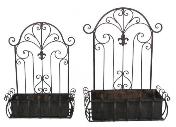 Wandkasten Pflanzkasten Metall Braun Garten Shabby Vintage Landhaus Deko Groß