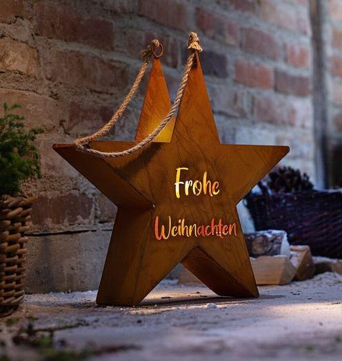 Windlicht/ Kerzenleuchter Metall Rost Shabby Vintage Landhaus Weihnachten Stern