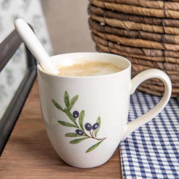Clayre&Eef Geschirrserie Olive Kaffebecher Shabby Vintage Landhaus Deko-Copy