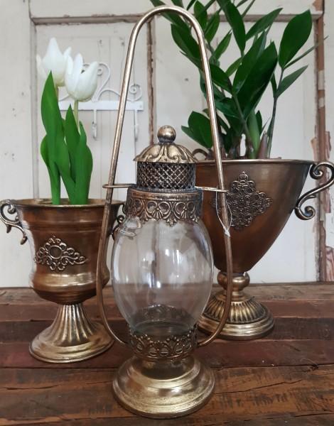 "Laterne/ Windlicht Metall Antikgold Shabby Vintage Nostalgie ""Aladin"""