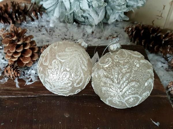 2er Set Christbaumkugeln Weiß Weihnachten Shabby Vintage Nostalgie Weihnachten Nr.400