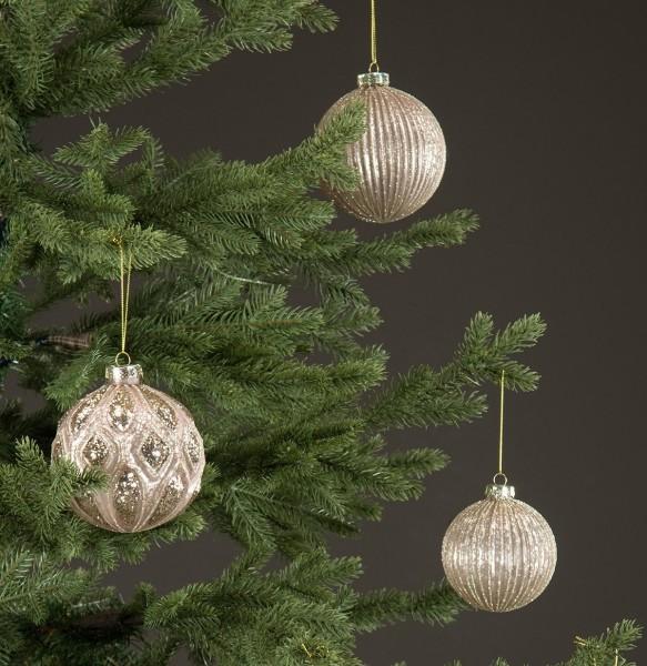 Christbaumkugel Rosa/ Silber Rillen Weihnachten Shabby Vintage Nostalgie Weihnachten Nr. 8