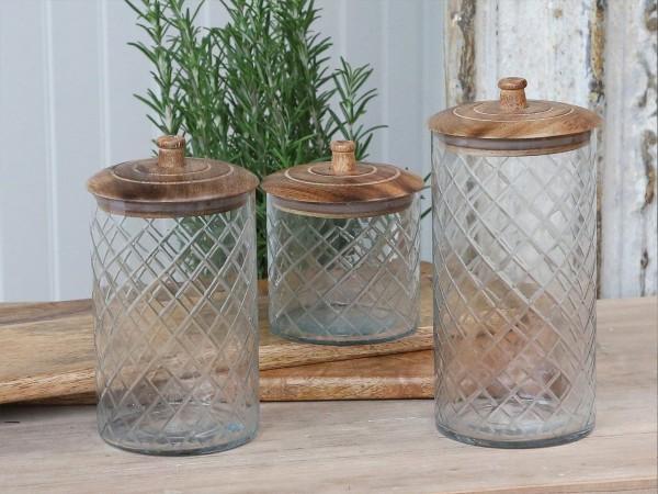 Vorratsglas mit Holzdeckel Mango Küche Rauten Vintage Landhaus Groß