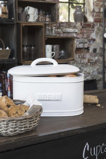Brotkasten Brotbox Keramik Weiß Küche Shabby Vintage Deko