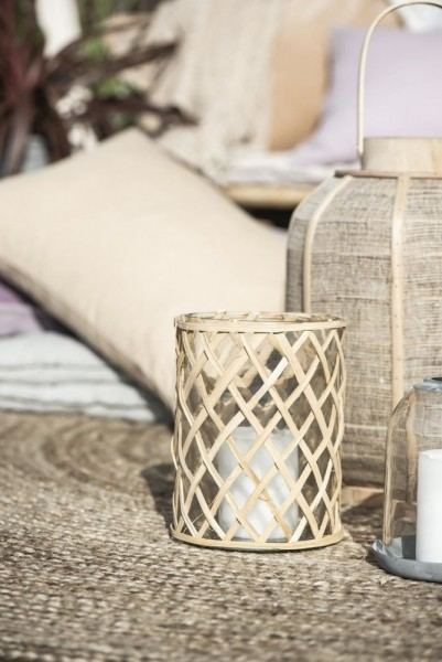 Wndlicht Vase Bambus Glas Shabby Vintage Landhaus Garten Boho Groß